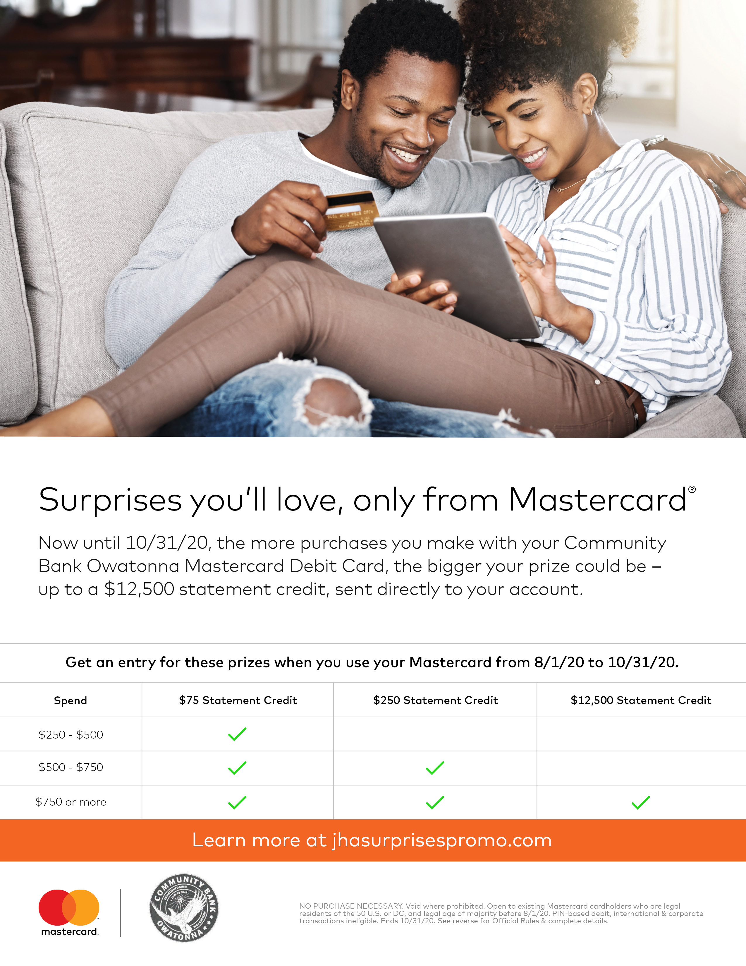 Surprises you'll love, only from Mastercard.  Get an entry for these prizes when you use your CBO Mastercard Debit Card from 8/1/20 to 10/31/20.  Learn more at jhasurprisespromo.com.